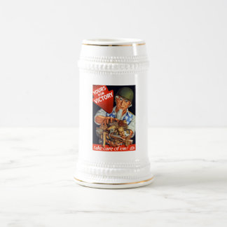 Uncle Sam -- Yours For Victory -- WWII 18 Oz Beer Stein
