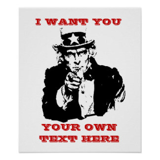 """Uncle Same Poster """"I want you"""" Custom Poster"""