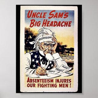 Uncle Sam's Big Headache Poster