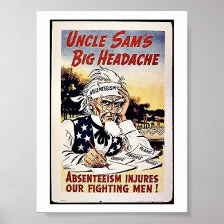 Uncle Sam's Big Headache Posters