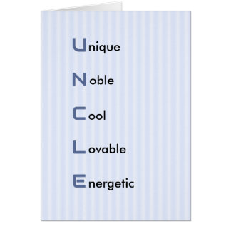 Uncle text blue stripe birthday card