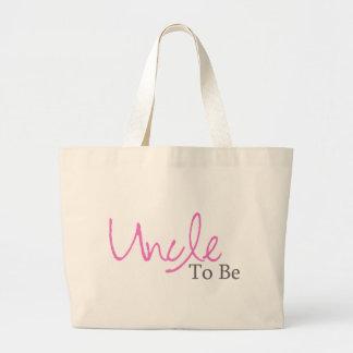 Uncle To Be (Pink Script) Jumbo Tote Bag
