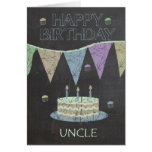 Uncle Trendy Chalk Board Effect, Birthday Cake Greeting Card