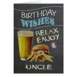 Uncle Trendy Chalk Board Effect, With Beer Burger Greeting Card