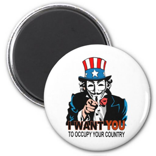 Uncle V Occupy Wall Street 2 Inch Round Magnet