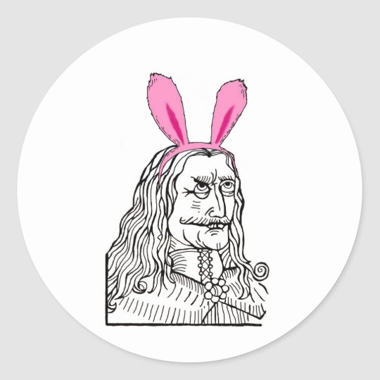 Uncle Vlad with bunny ears Classic Round Sticker