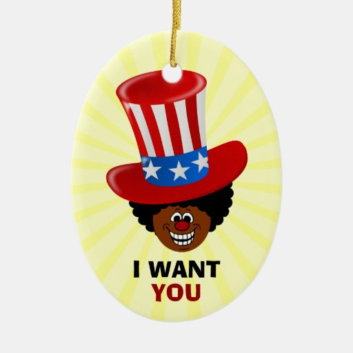 Uncle Willie Wants You Double-Sided Oval Ceramic Christmas Ornament