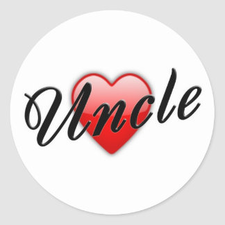 Uncle with Heart Graphic Classic Round Sticker