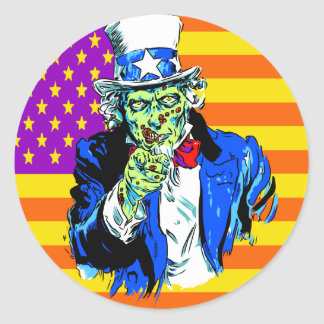 Uncle Zombie Sam Classic Round Sticker