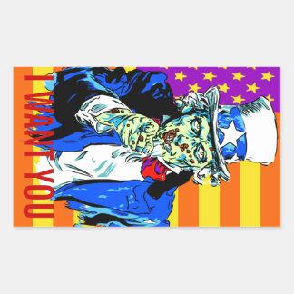Uncle Zombie Sam Rectangular Sticker