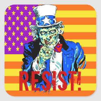 Uncle Zombie Sam Square Stickers