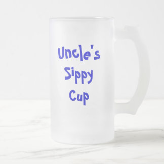 Uncle's sippy cup/stein/mug frosted glass beer mug