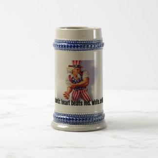 UncleSam_normal, My patriotic heart beats red, ... 18 Oz Beer Stein