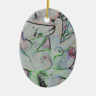 Uncommon Abstract Linier Pink Green Design Ceramic Ornament