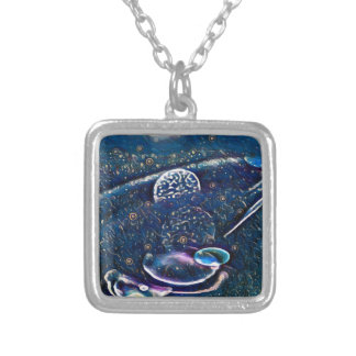 Uncommon Alien Worlds Abstract Photography Silver Plated Necklace