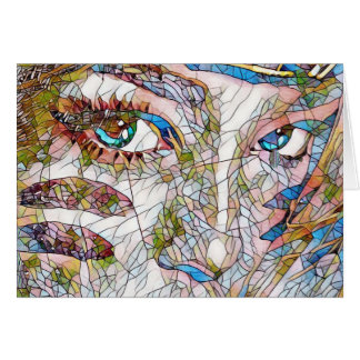 Uncommon Artistic Stained Glass Facial Features Card