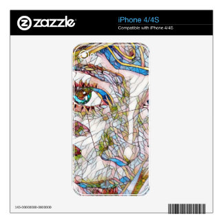 Uncommon Artistic Stained Glass Facial Features Decals For The iPhone 4