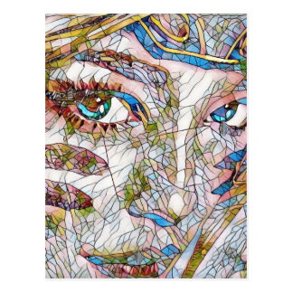 Uncommon Artistic Stained Glass Facial Features Postcard