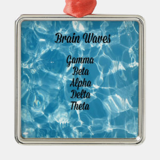 "Uncommon Blue Wavy ""Brain Waves"" Metal Ornament"