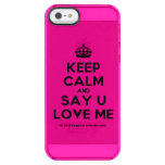 [Crown] keep calm and say u love me  Uncommon Cases (iPhone 5/5s/6) Uncommon Clearly™ Deflector iPhone 5 Case