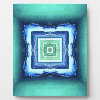 Uncommon Modern Blue Seagreen Geometric Pattern Plaque