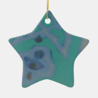 Uncommon Muted Green Blue Artistic Abstract Ceramic Ornament