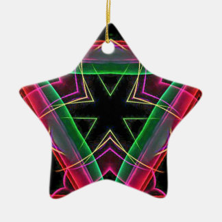 Uncommon Red Green Linear Christmas Abstract Ceramic Ornament