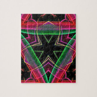 Uncommon Red Green Linear Christmas Abstract Jigsaw Puzzle