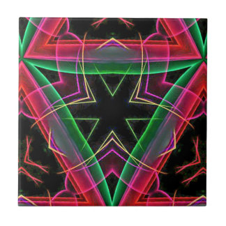 Uncommon Red Green Linear Christmas Abstract Tile