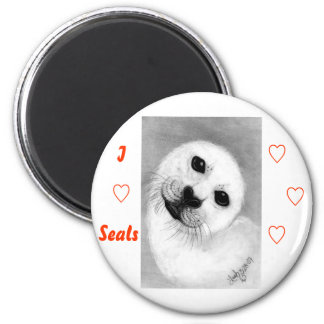 Unconditional Love Harp Seal 2 Inch Round Magnet