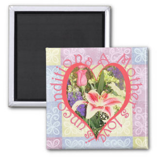 Unconditional Love Heart 2 Inch Square Magnet