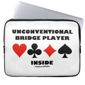 Unconventional Bridge Player Inside Card Suits Laptop Sleeve