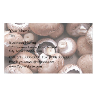 Uncooked fresh mushrooms business card