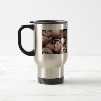 Uncooked fresh mushrooms coffee mugs