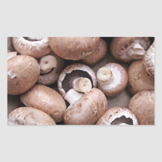 Uncooked fresh mushrooms rectangular sticker