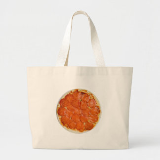Uncooked pepperoni and cheese pizza canvas bag