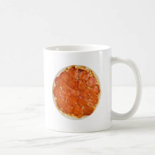 Uncooked pepperoni and cheese pizza coffee mugs