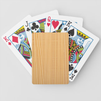 Uncooked spaghetti bicycle playing cards