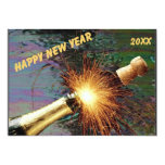 Uncorked Bottle Fireworks Happy New Year in Staine 5x7 Paper Invitation Card