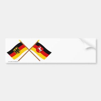 Und Baja Sajonia Flaggen, gekreuzt de Deutschland Pegatina Para Auto