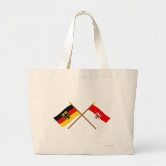Und Brandeburgo Flaggen, gekreuzt de Deutschland Bolsa Tela Grande