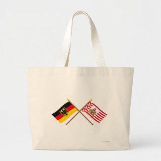 Und Bremen Flaggen, gekreuzt de Deutschland Bolsa Tela Grande
