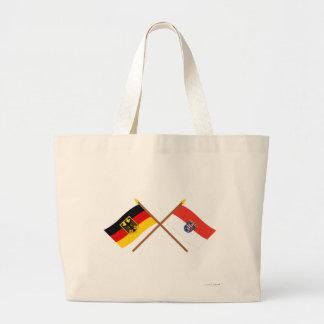 Und Hesse Flaggen, gekreuzt de Deutschland Bolsa Tela Grande