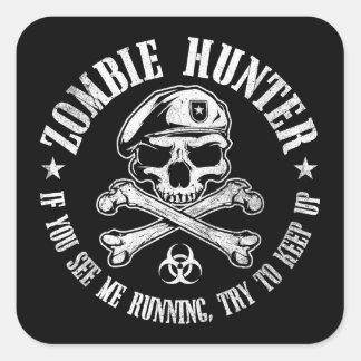 undead del cazador del zombi que viven pegatina cuadradas personalizadas