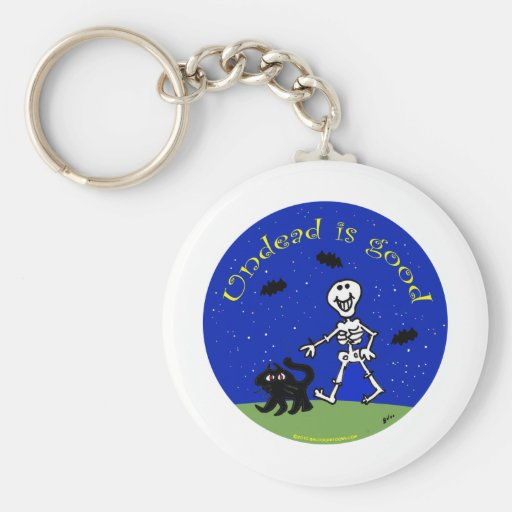 undead is good skeleton life basic round button keychain