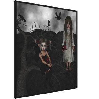 Undead oscuros Rosemary del cuervo del lobo del du Impresion En Lona