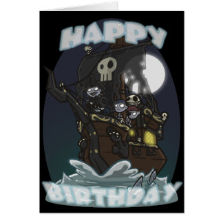 Undead Pirate Ship Birthday Card