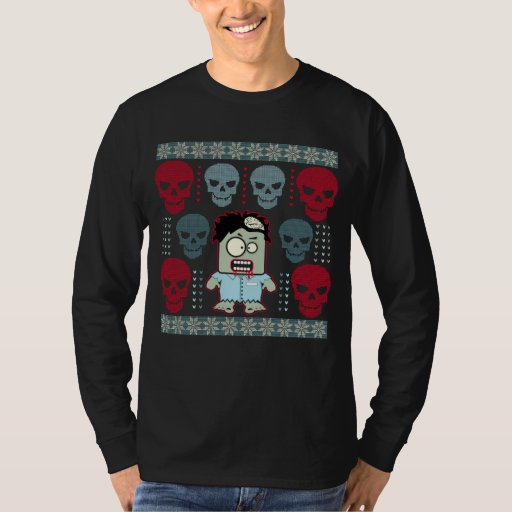 Undead Zombie and Skulls Ugly Holiday Sweater T-shirt