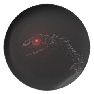 Undead Zombie Dinosaur Skeleton Melamine Plate