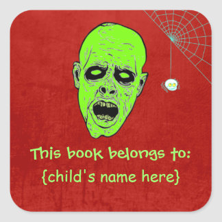 Undead Zombie Head with Spider - Book Belongs To Square Sticker